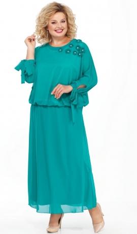LIA3247 Tirkīzkrāsas gara šifona kleita
