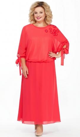LIA3248 Rozā gara šifona kleita