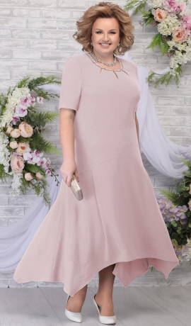 LIA5615 Pūdera krāsas pusgara kleita