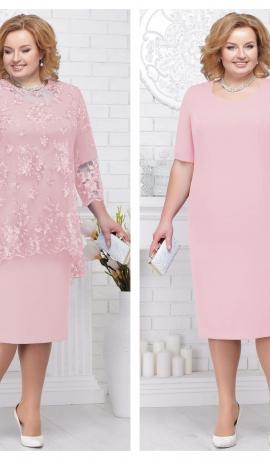 3-1355 Pūderkrāsas kleita ar mežģīni