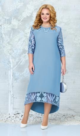 LIA7837 Gaiši zila kleita ar mežģīni