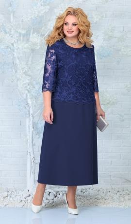 LIA7824 Tumši zila kleita ar mežģīni