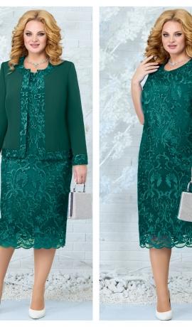 LIA7841 Smaragdzaļa kleita ar žaketi