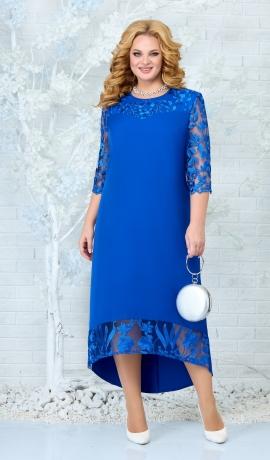 LIA7838 Zila kleita ar mežģīni