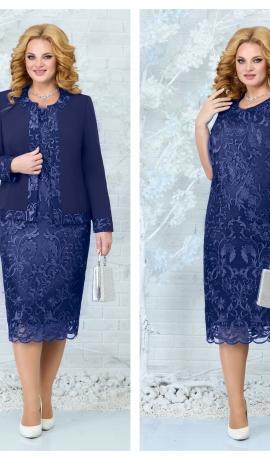 LIA7839 Tumši zila kleita ar žaketi
