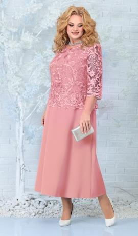 LIA7825 Pūderkrāsas kleita ar mežģīni