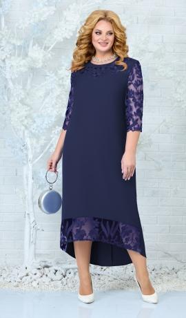 LIA7834 Tumši zila kleita ar mežģīni