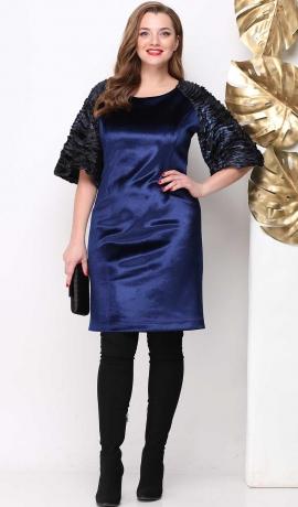 LIA4716 Tumši zila samta kleita