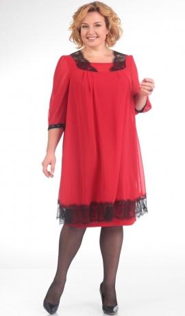 3-0669 Sarkana kleita ar melnu mežģīņu dekorējumu
