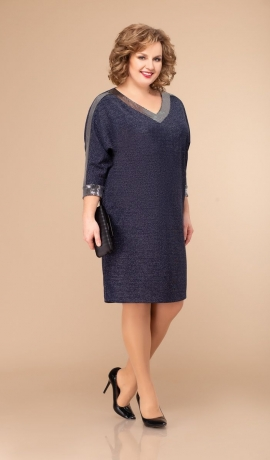 LIA5191 Tumši zila kleita ar kabatām