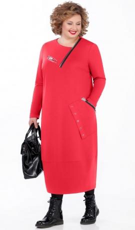 LIA5470 Sarkana trikotāžas kleita