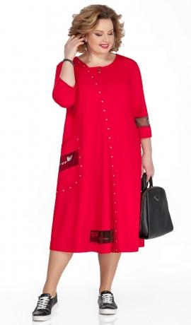 LIA5463 Sarkana trikotāžas kleita