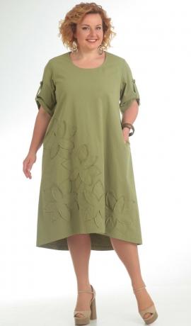 LIA5479 Haki kokvilnas kleita