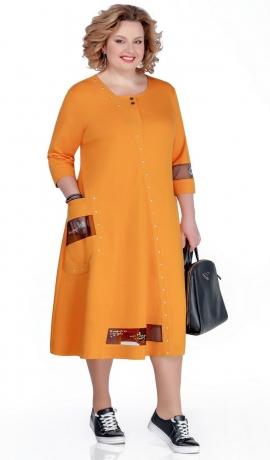 LIA5464 Sinepju krāsas trikotāžas kleita