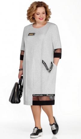 LIA5466 Sudraba krāsas trikotāžas kleita