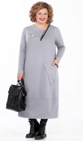 LIA5471 Pelēka trikotāžas kleita