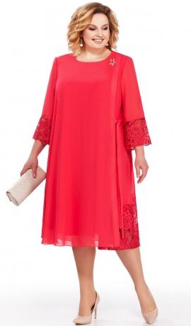 LIA2825 Koraļkrāsas šifona kleita