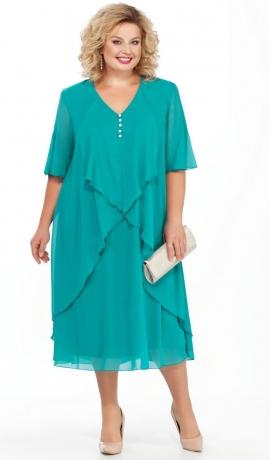 LIA3263 Tirkīzkrāsas šifona kleita