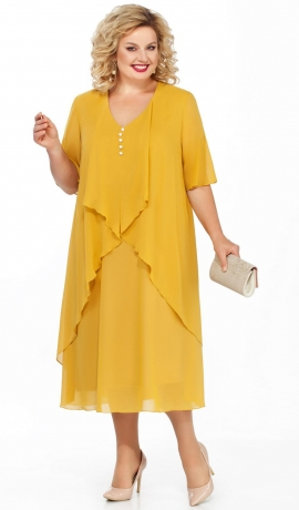 LIA3261 Dzeltena šifona kleita