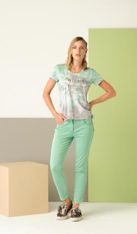 5-0464 Piparmētru krāsas džinsi