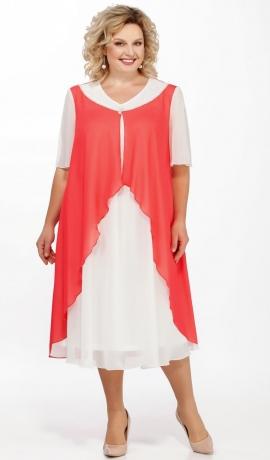 LIA3220 Koraļkrāsas ar baltu šifona kleita