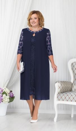 LIA1568 Tumši zila mežģīņu kleita ar šifonu
