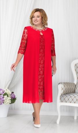 LIA1567 Sarkana mežģīņu kleita ar šifonu