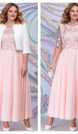 LIA6420 Pūderkrāsas kleita ar žaketi