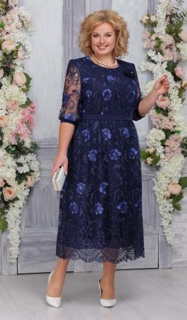 LIA4398 Tumši zila mežģīņu kleita