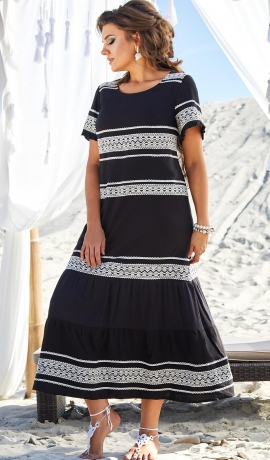 LIA7317 Melna ar baltu kleita