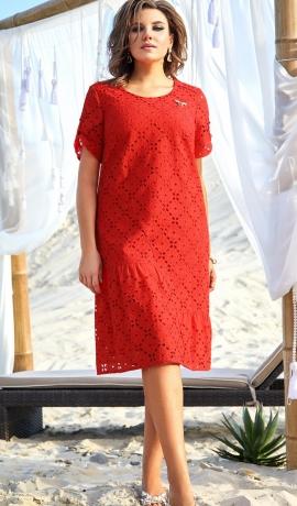 LIA7328 Sarkana kokvilnas kleita