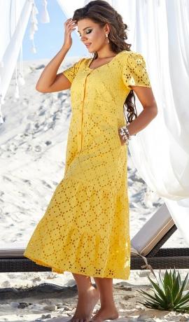 LIA7325 Dzeltena kokvilnas kleita