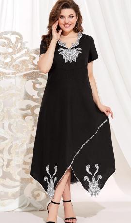 LIA7320 Melna A-silueta kleita