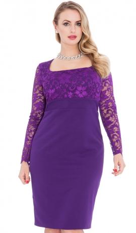 3-0462 Violetas krāsas kleita ar mežģīni