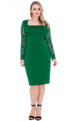 3-0461 Smaragda krāsas kleita ar mežģīni
