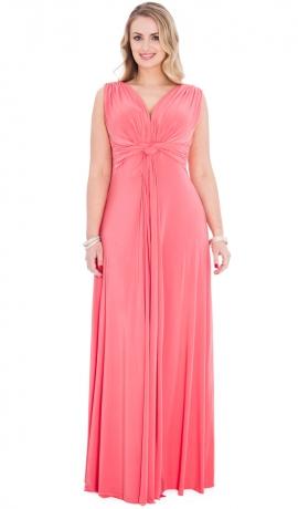3-0466 Koraļļu krāsas maksi kleita