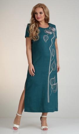 3-1776 Tirkīzkrāsas lina kleita