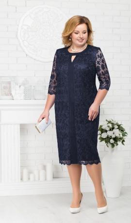 LIA1987 Tumši zila mežģīņu kleita
