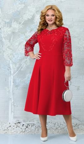 LIA7883 Sarkana kleita ar mežģīni