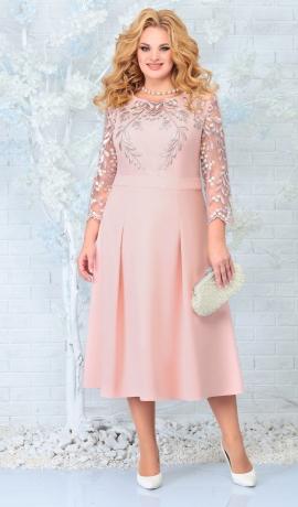 LIA7886 Pūderkrāsas kleita ar mežģīni