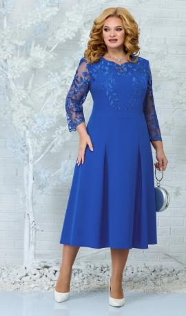 LIA7887 Zila kleita ar mežģīni