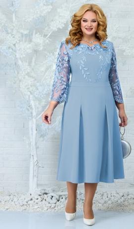 LIA7885 Gaiši zila kleita ar mežģīni