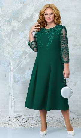 LIA7884 Smaragdzaļa kleita ar mežģīni