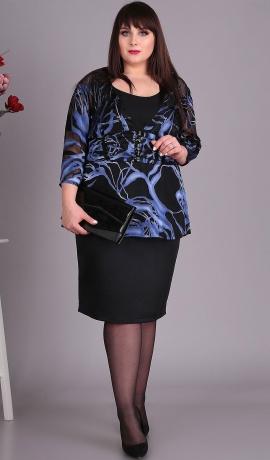 LIA4745 Melna kleita ar rakstu