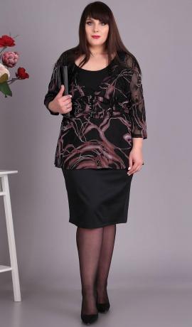 LIA4744 Melna kleita ar rakstu