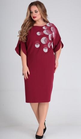 LIA4732 Sarkana brīva piegriezuma kleita