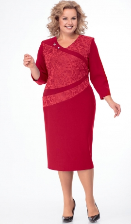 LIA4887 Sarkana kleita ar mežģīni