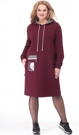 LIA7011 Bordo kleita ar kapuci
