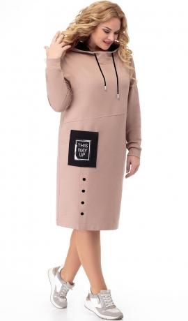 LIA7012 Bēša kleita ar kapuci