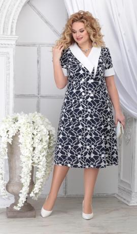 LIA7130 Zila / Balta kokvilnas kleita